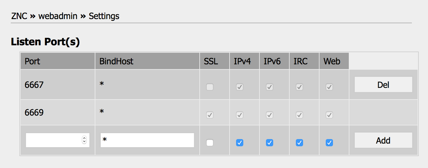 enabling ssl in the znc admin panel